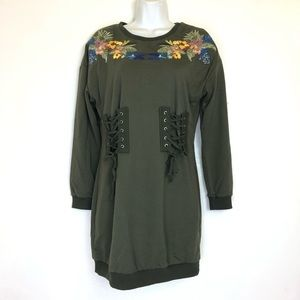 lulumari anthropologie floral embroidered dress S